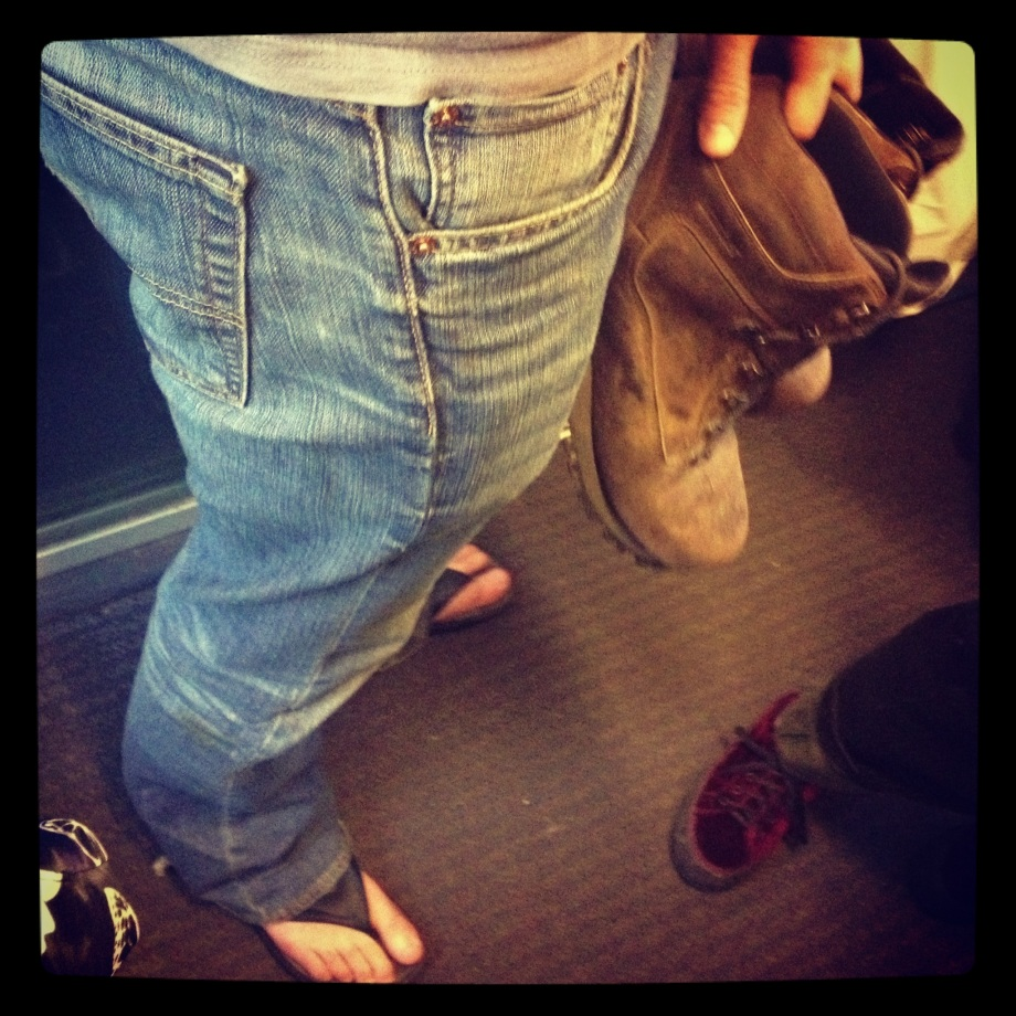 Flip flops and boots