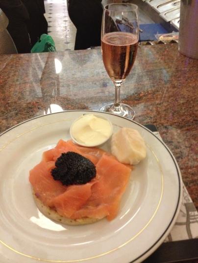 Caviar, Salmon, Creme Fraiche and Champagne