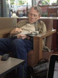 Man asleep in starbucks