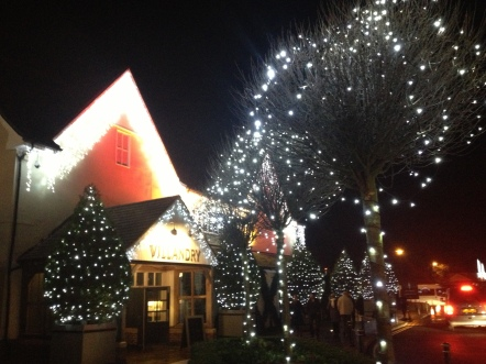 Bicester at night with christmas lights