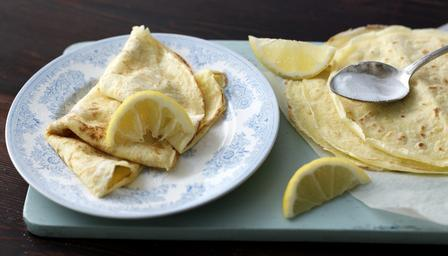 delia pancakes with sugar and lemon