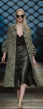 Prada F/W 2013 Dark Coat Leather Skirt