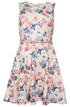 White Textured Floral Belted Skater Dress £24.99