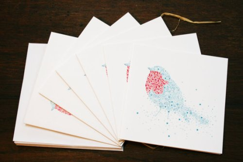 Blue & Red Robin cards - Etsy