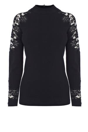 Santy Knit Top, Top, Jumper, Winter, Fashion, Black, White, Monochrome, Coast, Blog A Book Etc, Fay, Lace, Knitwear
