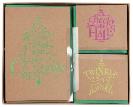 Box of 15 kraft & neon glitter Christmas cards
